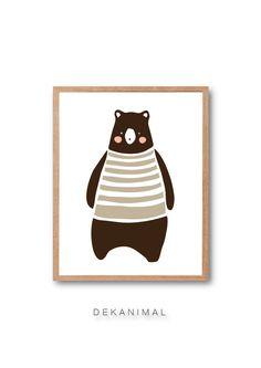 Woodland Nursery Print Baby Brown Bear Art Print Bear