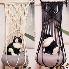 This Cat Hammock is DIY handcrafted in a cat-love studio, Perfect gift for lovely cats,comfortable and match well with modern Minimalist home decoration. Can hang up from the ceiling,wall and firm shelf.favoriting for discount in my ETSY shop right now. Diy Cat Hammock, Diy Cat Bed, Diy Crochet Cat Bed, Cat Cave Crochet Pattern, Macrame Chairs, Cat Room, Cat Wall, Macrame Projects, Macrame Patterns