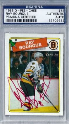 Ray Bourque Autographed 1988 O-Pee-Chee Card PSA/DNA Slabbed #83109632 . $39.00. This is a 1988 O-Pee-Chee card #73 that has been hand signed by Ray Bourque. It has been authenticated and slabbed by PSA/DNA.