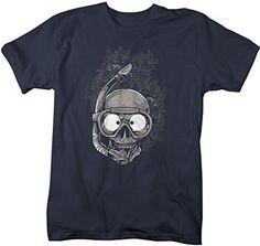 Shirts By Sarah Men's Scuba Diving T-Shirt Skull Grunge Shirts Snorkeling