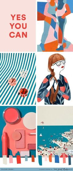 Todays colour crush post sees summery coral tones teaming up with teal blues, peachy pinks and a hint of bright red. That lovely colour of . Colour Schemes, Color Trends, Color Combos, Color Patterns, Colour Palettes, Pantone, Mood Colors, Illustration, Teal Blue