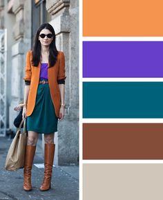 Еще один вариант расположения цветов по треугольнику в цветовом колесе: оранжево-коричневый как основа, темно-зеленый дополнительный и фиолетовый акцентный.