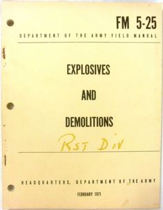 Explosives and Demolitions - 1971 - Education, Teaching, English, Paperback, Pro #Textbook