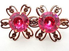 Vintage Pink Rhinestone Copper Earrings Flower Design Women's Screwback Round