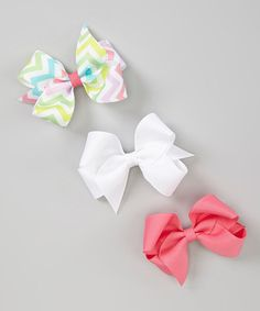 White Spring Zigzag Bow Clip Set