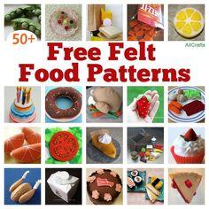 Craft felt pattern play food ideas for 2019 Easy Felt Crafts, Felt Diy, Girls Play Kitchen, Play Kitchens, Felt Food Patterns, Felt Patterns Free, Sewing Patterns, Free Pattern, Crochet Patterns