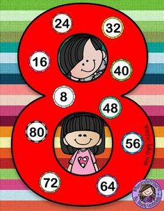 Tafel van 8 Kids Math Worksheets, Maths Puzzles, Math For Kids, Activities For Kids, Happy Birthday Banner Printable, Math Board Games, Math Blocks, Magic Squares, Classroom Rules