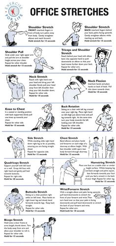 Office Stretches to Do at Your Desk via walkingspree #Health #Fitness #Exercise #Stretches #Workplace