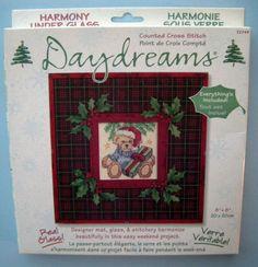 Daydreams Cross Stitch Teddy Bear Daydreams Under Glass #Christmas