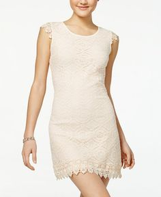 0e717d22 Sequin Hearts Juniors' Crochet Lace Sheath Dress & Reviews - Dresses -  Juniors - Macy's