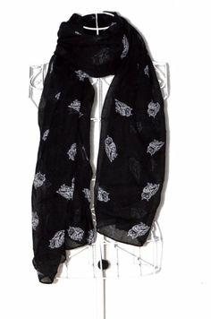 Icon Fashion Animal Print Scarves Owl Print Scarf Bright Colors (Black)