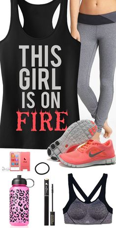 Cool Coral Colored #GymGear theme featuring THIS GIRL is on FIRE #Workout Tank Top by #NobullWomanApparel, $24.99 on Etsy. Look great while you train an after, click here to buy https://www.etsy.com/listing/181370075/this-girl-is-on-fire-tank-top-workout?ref=shop_home_active_9
