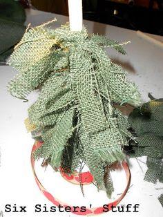 Burlap Scrap Christmas Trees Tutorial | Six Sisters' Stuff