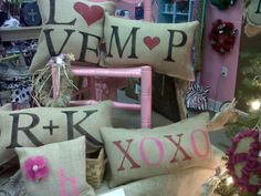 Burlap pillows for Valentine's Day!