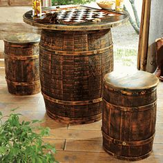 Whiskey Barrel Game Table & Stools - 3 pcs