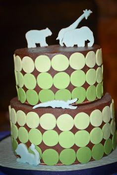 Animal cake - so cute for a baby shower Pretty Cakes, Cute Cakes, Yummy Cakes, Fondant Cakes, Cupcake Cakes, Zoo Cake, Jungle Cake, Silhouette Cake, Animal Silhouette