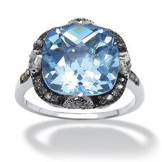 9.75-Carat Cushion-Cut Genuine Swiss Blue Topaz Sterling Silver Ring