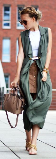 Stylary Suede Button Skirt - Olive Sleeveless Shirt Dress - White Mini Belt