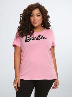 Barbie® Logo Crop Tee, PRIMS PINK