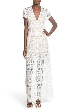 Wayf V-Neck Lace Maxi Dress available at #Nordstrom
