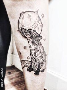 Fox and Moon Tattoo