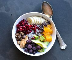 Sweet breakfast bowl. A chia almond porridge base topped with delicious fruit, nut butter, and seeds. Mix and match to create your perfect bowl!