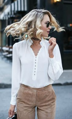 camel suede culottes, white victorian blouse, black handbag, wrap choker necklace, aviator sunglasses + curled hairstyle {white house black market, m2malletier, fallon, ray-ban}