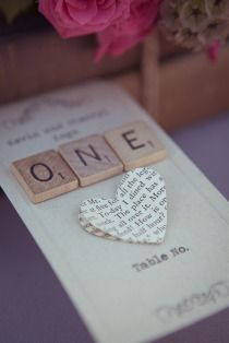 Table number (or escort card) - scrabble