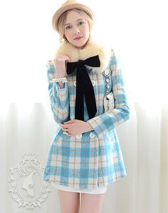 Long Sleeve Polo Collar Double Breasted Plaid Middle-Length Woolen Coat(img 2)