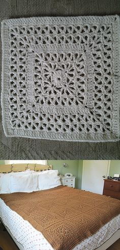 "Double-Framed Lace, free pattern by Chris Simon. Repetitive stitches make this an easy 12"" square that should work up fast. Regular worsted weight yarn, hook size 'H'"