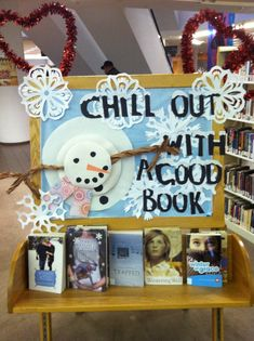 Bulletin Board or winter library displays School Library Displays, Middle School Libraries, Elementary School Library, Library Themes, Library Activities, Classroom Displays, Library Ideas, Library Decorations, Library Design