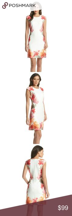 New! Calvin Klein Floral Print Scuba Sheath Dress New with tags - Calvin Klein Floral Print Scuba Sheath Dress  Romantic floral details accent the edges of this scuba knit dress from Calvin Klein.   Crew neck  Cap sleeves  Floral print border  Hidden back zipper closure  Dry clean  Polyester/elastane Calvin Klein Dresses