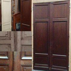 paire de portes de séparation double faces en chêne massif , ossature à encadrement moulurées . XX siècle .