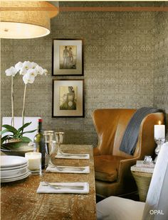 Love the leather wing chair, lovingly well worn dining table, wall covering and the textural chandelier. So well dressed. Dining Room Inspiration, Interior Inspiration, Seagrass Wallpaper, Unique Wallpaper, Wallpaper Art, Bathroom Wallpaper, Interior Decorating, Interior Design, Decorating Ideas