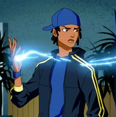 Static Shock from Young Justice. Black Cartoon Characters, Dc Comics Characters, Fantasy Characters, Dc Heroes, Comic Book Heroes, Black Lightning Static Shock, Comic Character, Character Design, Ninja