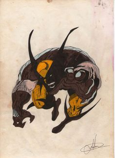 Desenho do Wolverine, basicão, todo o preto foi pintado com caneta esferográfica...