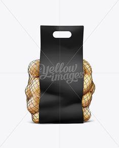 Net Bag With Potato Black Mockup