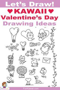 valentine drawing doodles simple sweet easy valentines draw drawings beginners tutorials kawaii lessons creative printable