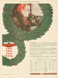1929 Timken Roller Bearing Co. Canton Ohio Christmas Gift-Wreath Art Vintage Ad