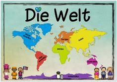 """Neues Themenplakat Heute gibt es ein Plakat zum Thema """"Kontinente/Die Welt"""", das ich gerade im Sachunterricht meiner Klasse durchnehme. ..."""