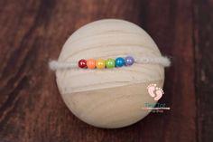 Rainbow Baby Tieback for Newborn Photography. Newborn Photography Props, Newborn Photo Props, Newborn Photos, Knit Wrap, Rainbow Baby, Christmas Bulbs, Wraps, Knitting, Holiday Decor
