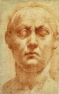 Parmigianino-Studio di testa d'uom, sanguigna, 137 x 95 cm, con annotazione a penna e inchiostro nero ,Museo del Louvre,Parigi