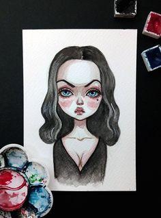 Original watercolor art in the format of a postcard. Arte Disney, Disney Art, Disney Drawings, Cute Drawings, Arte Sketchbook, Goth Art, Creative Art, Art Inspo, Art Sketches