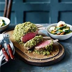 Herby rack of lamb with lemon ricotta courgettes - Sainsbury's Magazine