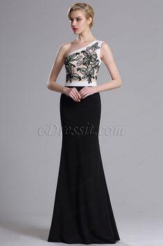 eDressit One Shoulder Floral Embroidery Prom Evening Dress