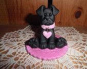 Polymer Clay Dog -Black Lab with Matching Rug Figurine/Gift
