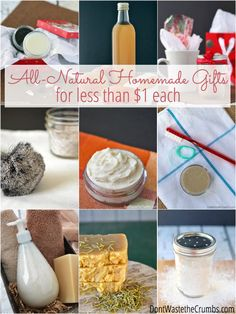 If you're looking for homemade gifts for this season, you can't skip these all-natural gift ideas. They're simple to make, and cost less than $1 each!