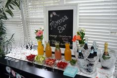 Mimosa crafting station- to be located next to the bar where guests will receive glasses of champagne