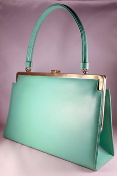 Vintage 1960s Mod Mint Green Structured Purse