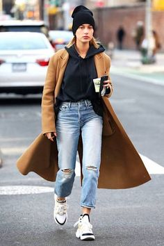 How Hailey Baldwin Makes A Wool Coat Casual